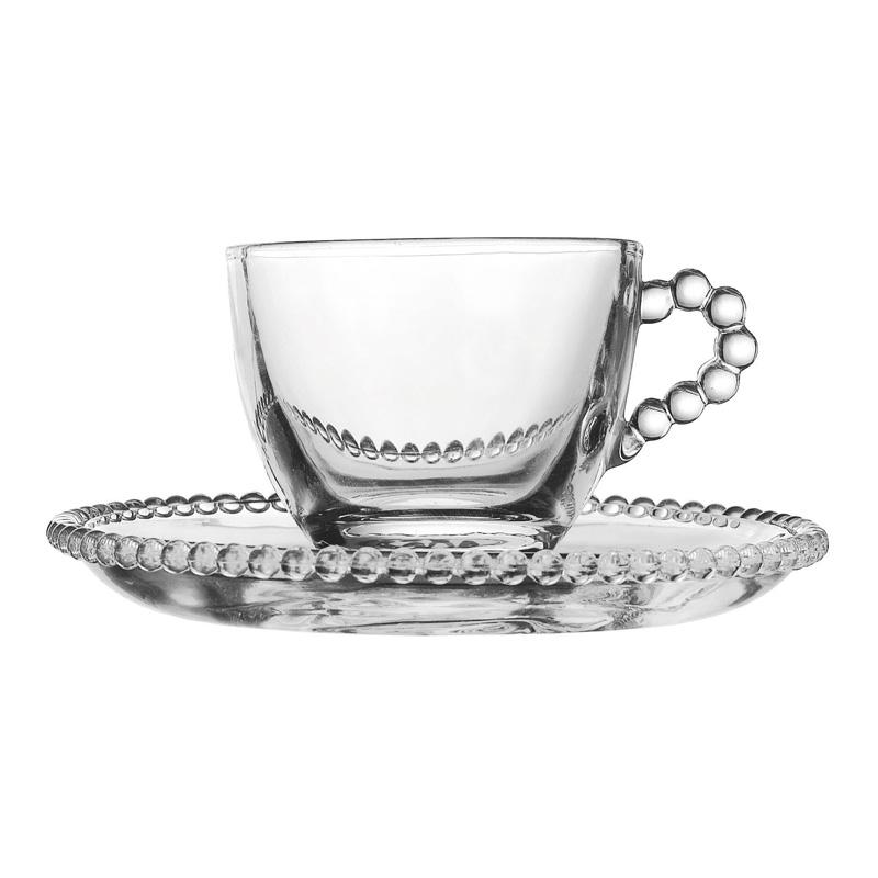 tasse caf perles c t table achat vente tasse caf avec soucoupe en verre transparente. Black Bedroom Furniture Sets. Home Design Ideas