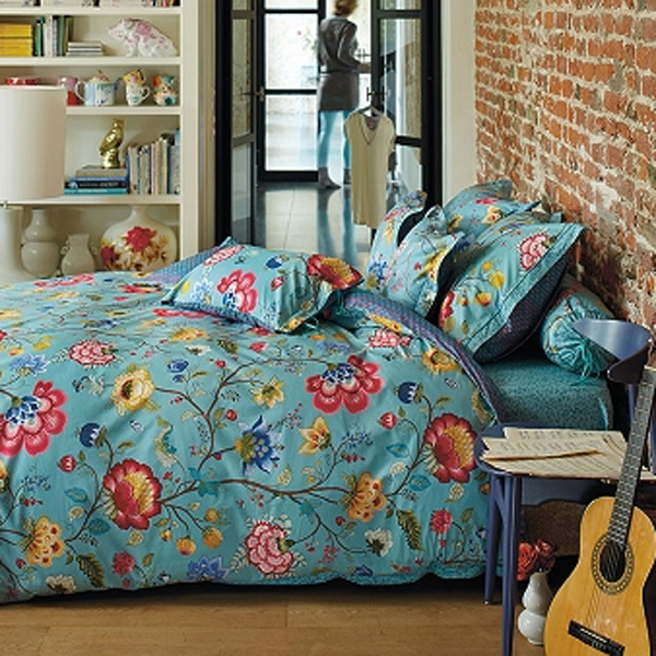 pip studio housse couette 200 x 200 cm 2 taies floral fantasy bleu achat vente prure de. Black Bedroom Furniture Sets. Home Design Ideas