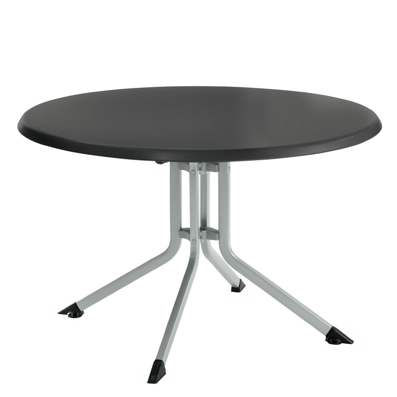 Table PLIANTE Aluminium Résine Ronde KETTLER 115 cm argent gris ...