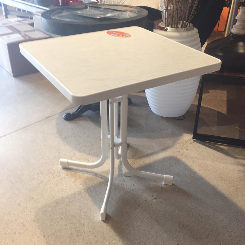 Table de jardin//table pliante Boulevard Best ø80cm acier blanc marbré