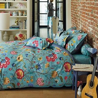 pip studio housse couette 200 x 200 cm 2 taies floral fantasy bleu