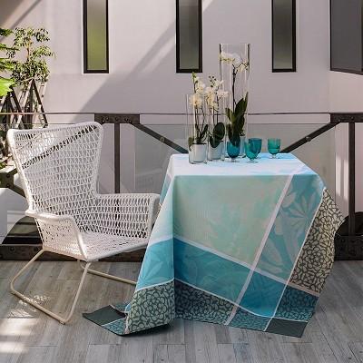 Nappe Coton Jardin Hiver Bleu Celeste 175 X 175 Cm Le Jacquard