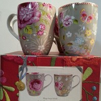 PIP Studio Coffret 4 Grands Mugs Floral Chinese Rose Kaki