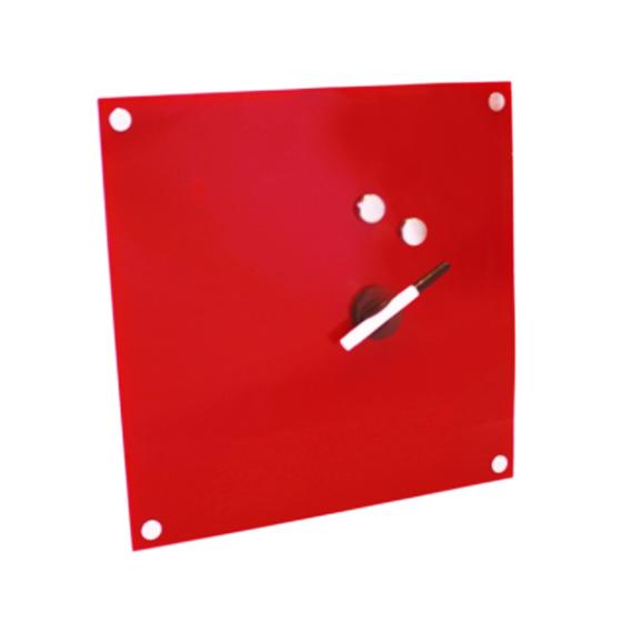tableau mémo magnétique en verre design rouge - tableau verre