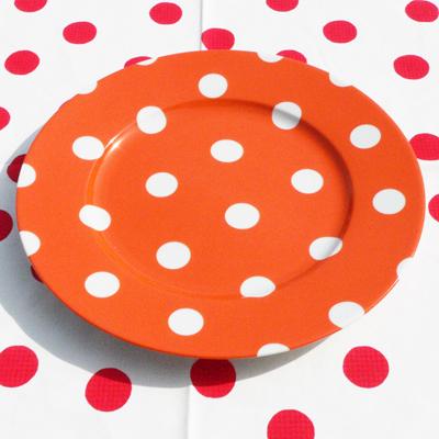 Assiette de Table Pois Orange SABRE pour 12€