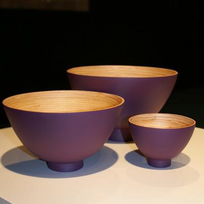 Saladier Bol Design Bambou Naturel Laqué Prune Taille L pour 27€