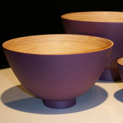 Saladier Bol Design Bambou Naturel Laqué Prune Taille M pour 23€